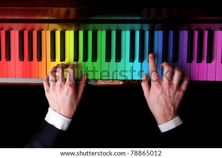 Piano player music is fun - stock photo