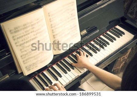 Piano sheet music - stock photo