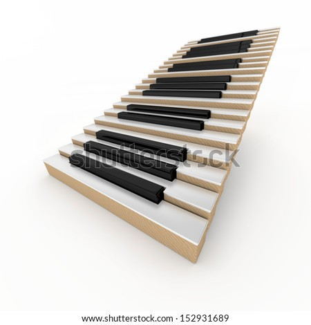 Piano stairway on the white background - stock photo