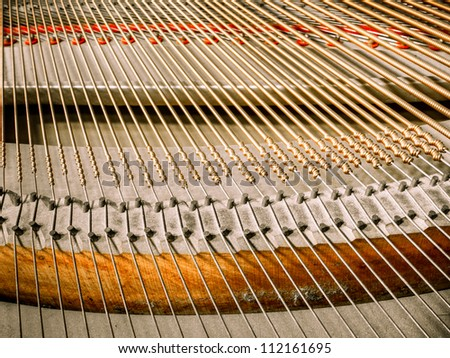 Piano string photo edited with old aged tone - stock photo