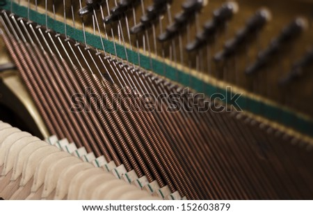 Piano strings and hammers close up