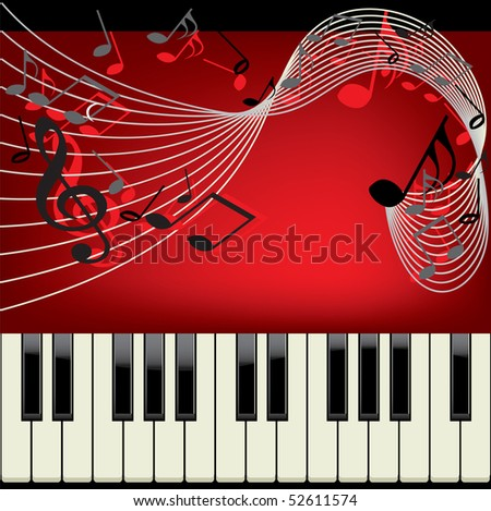 Piano vector background with musical notes - stock photo