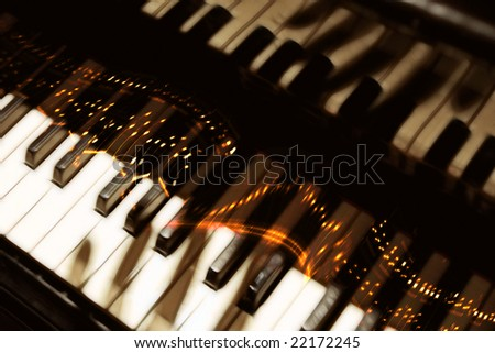 pianoforte keyboard with fingers shadow & ardent notes, musical fantasy