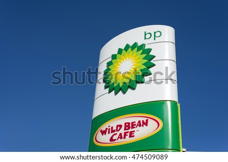 PIASECZNO POLAND - AUGUST 27, 2016: BP - BP is a British multinational oil and gas company headquartered in London - logo on station