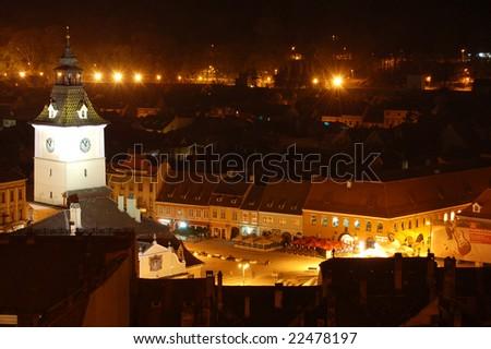 Piata Sfatului, the central part of Brasov, in southern Transylvania, Romania - stock photo