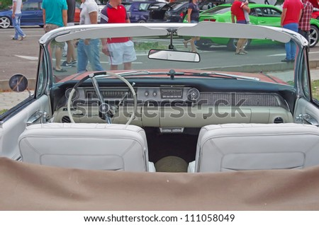 PIATRA NEAMT, ROMANIA - AUGUST 11: Interior view of a Cadillac, 1962 model at Piatra Neamt Tuning Fest on August 11, 2012 in Piatra Neamt, Romania