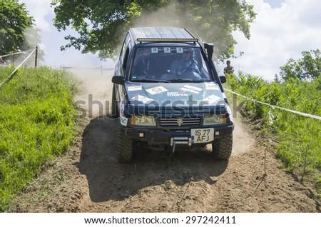 Piatra Neamt, Romania - May 31: Subaru Jeep at Wild Bear Trophy on May 31, 2015 In Piatra Neamt, Romania - stock photo