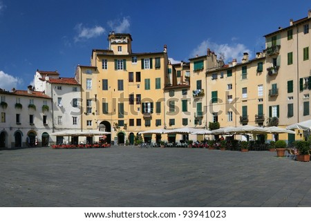 Piazza Anfiteatro in the old town of Lucca, Italy.