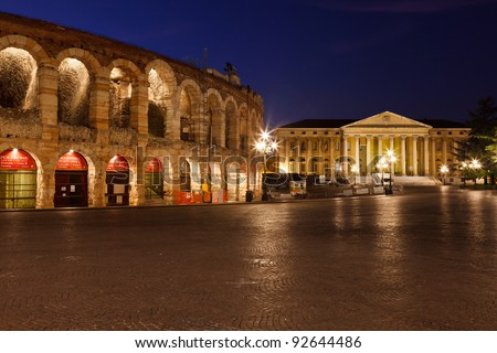 Piazza Bra and Ancient Amphitheater in Verona, Italy