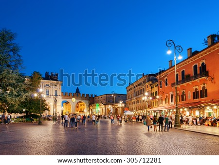 Piazza Bra in Verona (Italy) at evening. Verona is a popular tourist destination of Europe. - stock photo