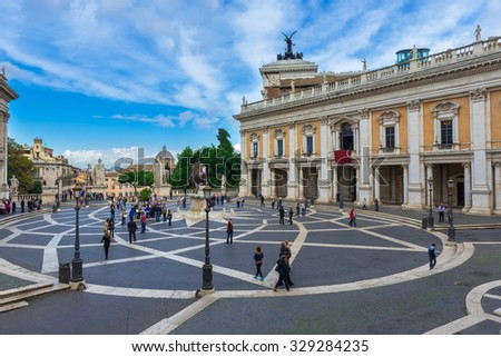 Piazza Capitoline in Rome. Italy - stock photo