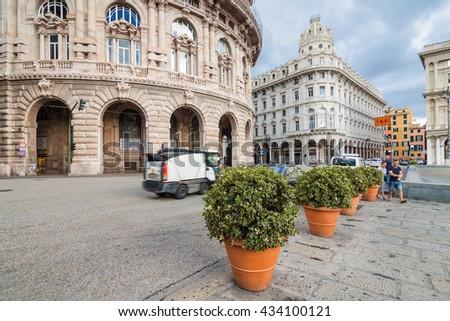 Piazza de Ferrari - main square of Genova between historical and modern center, Liguria region, Italy. - stock photo