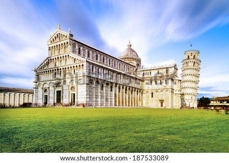Piazza dei Miracoli complex with the leaning tower of Pisa in front, Italy  - stock photo