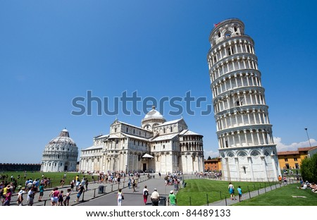 Piazza dei Miracoli complex with the leaning tower of Pisa in front, Italy