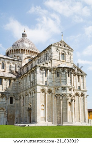 Piazza dei Miracoli complex with the leaning tower of Pisa, Italy - stock photo