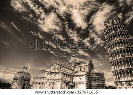 Piazza dei Miracoli in sepia tone, Italy - stock photo