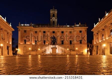 Piazza del Campidoglio on Capitoline Hill with Palazzo Senatorio and Equestrian Statue of Marcus Aurelius, Rome, Italy  - stock photo