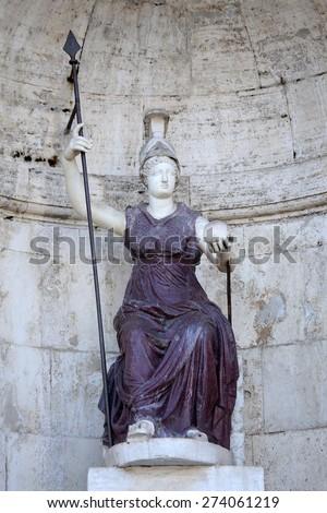 Piazza del Campidoglio - Statue Dea Roma in Rome, Italy - stock photo