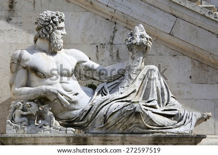 Piazza del Campidoglio - Statue del Tevere in Rome, Italy - stock photo