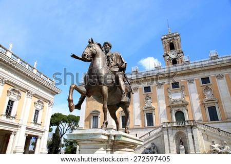 Piazza del Campidoglio - Statue Marco Aurelio at the Capitoline Hill in Rome, Italy - stock photo