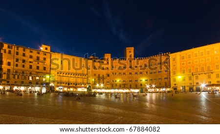 Piazza del Campo at the blue hour, Siena, Tuscany, Italy - stock photo