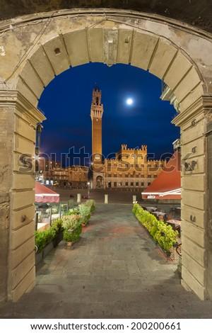 Piazza del Campo in the historic center of Siena, Italy - stock photo