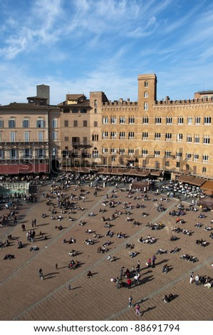 Piazza del Campo, the main square of Siena, Italy - stock photo