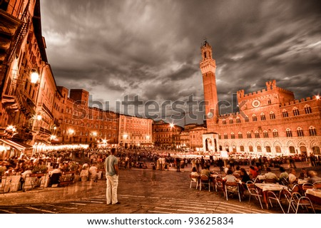 Piazza del Combo, Siena, Tuscany, Italy - stock photo
