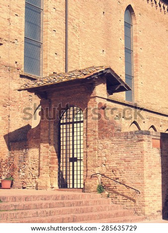 Piazza del Duomo in San Gimignano. A detail of the Cathedral. Tuscany. Italy - stock photo