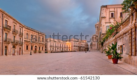 Piazza del Duomo, Siracusa, Sicily in early morning - stock photo