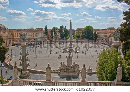 piazza del popolo in Rome - stock photo
