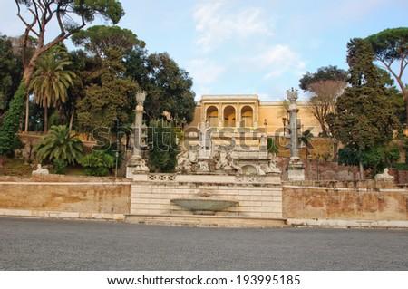 Piazza del Popolo with Fontana della Dea Roma (Fountain of the Goddess Rome), Rome, Italy - stock photo