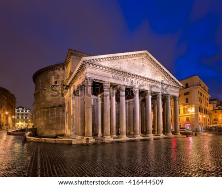Piazza della Rotonda and Pantheon in the Morning, Rome, Italy - stock photo