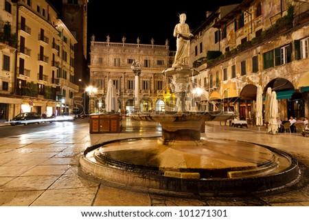 Piazza delle Erbe in Verona, Italy - stock photo
