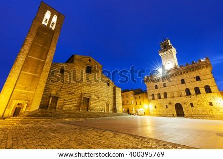Piazza Grande in Montepulciano. Montepulciano, Tuscany, Italy - stock photo