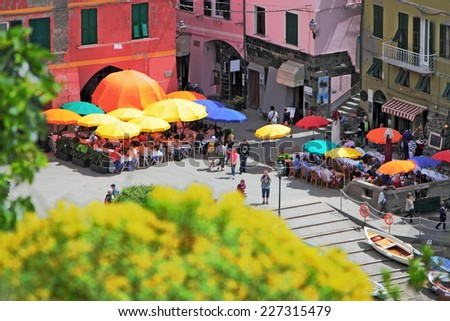 Piazza in Vernazza - stock photo