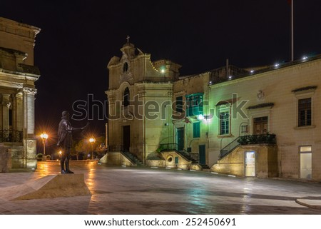 Piazza Jean de Valette in Valletta Malta - stock photo