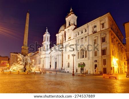 Piazza Navona at dusk. Rome, Italy. - stock photo