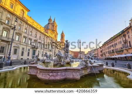 Piazza Navona, Rome, Italy - stock photo