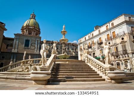 Piazza Pretoria or Piazza della Vergogna, Palermo, Sicily, Italy - stock photo