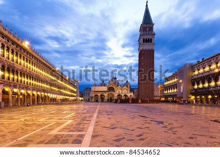 Piazza San Marco at dawn on a cloudy morning.