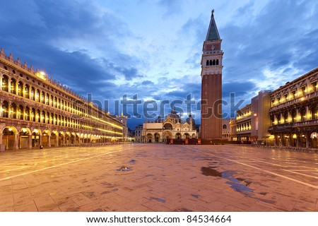 Piazza San Marco at dawn on a cloudy morning. - stock photo