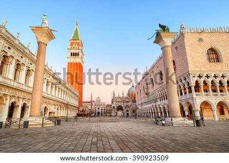 Piazza San Marco with Doge's Palace and Campanile on sunrise, Venice, Italy - stock photo