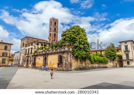 Piazza San Martino. Italy, Lucca, - stock photo