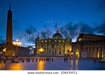 Piazza San Pietro in the evening