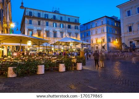 Piazza Santa Maria in Trastevere in Rome, Italy  - stock photo