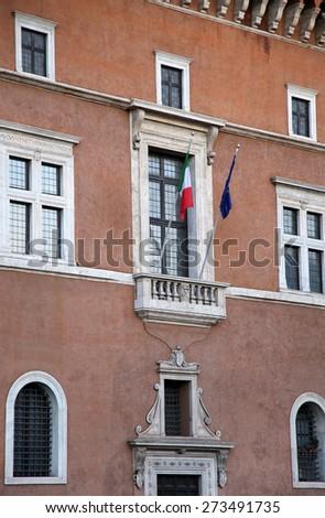 Piazza venezia in Rome, Italy, building balcony where it speak Duce Benito Mussolini - stock photo