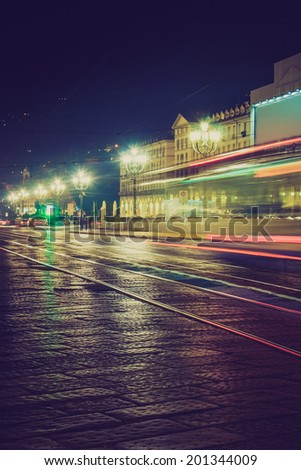 Piazza Vittorio square by night in Turin Italy - stock photo