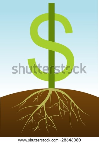 pic of dollar sign growing roots. - stock photo