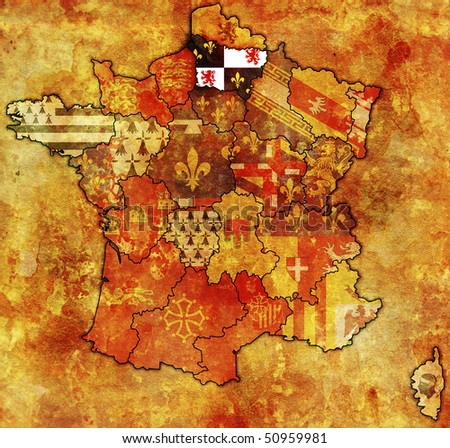 Picardy on old map of france with flags of administrative divisions